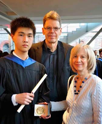 National Gold Medal Winner Eddie Zhang with his  History and Harmony Teachers Lynn and Peter Ware