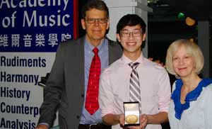 RCMusic National Gold Medal Winner Jeremy Ho with his  History and Harmony Teachers Lynn and Peter Ware