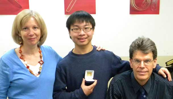 RCMusic National Gold Medal in Music Theory Winner with his Teachers Lynn & Peter Ware